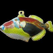 Large colorful enamel kissing fish pendant
