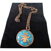 Vintage copper Bell Trading post necklace, faux turquoise