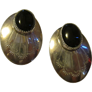 Vintage Native american signed sterling onyx earrings