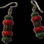 Vintage coral turquoise, sterling earrings