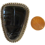 Vintage 50's Sterling silver Aztec black onyx Brooch signed