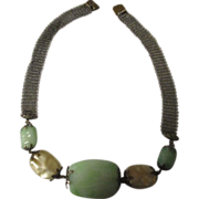 Fabulous Art Deco peking glass, faux baroque pearls necklace