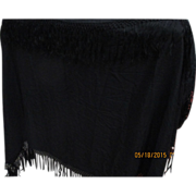 Victorian Silky silk black large Shawl, honey comb silk fringe edges