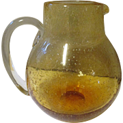 Vintage 60-70's Honey Blenko controlled bubble pitcher