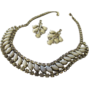 Vintage collectable White milk glass, rhinestone Necklace, and Weiss earrings