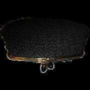 Vintage Black Brocade MM Morris Moskowitz clutch Purse