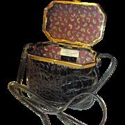 Vintage 1950's Black alligator pattern in leather by Sorpresa Itlay Box purse