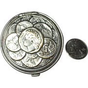 SOLD Circa 1890's Tam O'Shanter Roman Greek Metal coin Leather pouch.