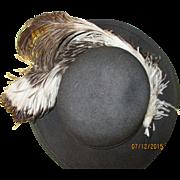 Vintage Geo.W. Bollman ladies feather black Doeskin Felt 100% wool.