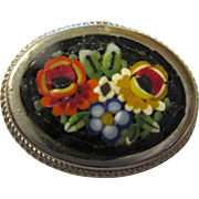Vintage Glass Italian Micro Mosaic Brooch
