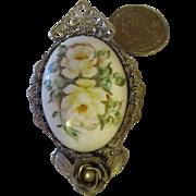 Vintage Sterling , hand painted porcelain brooch