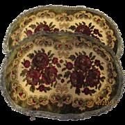 Vintage 30's Large floral Moroccan colors Belgium doilies