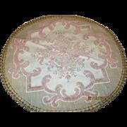 Vintage 30's large Round Belgium Pink, tan doily