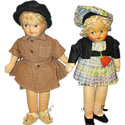 Vintage 1940's Geogene Arerill Novelty Doll pair.  Found her missing sock!