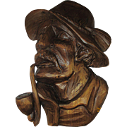 Vintage Bavarian wooden hand carved Peasant man with pipe with signature