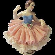 Vintage Dresden Lace porcelain ballerina girl circa 1960