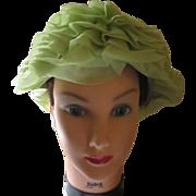 Vintage 1950's Original hat by Dayne unique lime green silk.