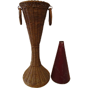 Early 1920's Unique original hand woven flower vase, metal insert.