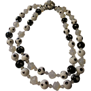 Beautiful vintage 1950's opaline glass , black & white polka dot art glass necklace