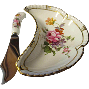 Vintage Royal Crown Derby Porcelain Oyster dish and knife