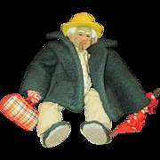 Vintage Little old man Hobo, wool, muslin folk art doll