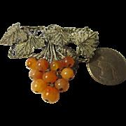 Vintage Chinese Export 800 silver carnelian filigree Brooch
