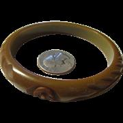 Vintage Bakelite Bangle bracelet Army Green