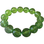 Vintage Czech Republic green crystal large beaded bracelet