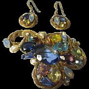 Beautiful Mystery huge rhinestone brooch and earrings set.