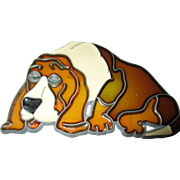 Stained glass sweet sleeping Hound dog coaster