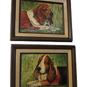 Medium Oil painting Sweet Basset Hound dogs Pair.