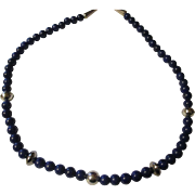 Superb deep royal blue Lazuli lapis sterling necklace