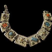 Vintage white enamel faux coral, faux turquoise bracelet