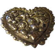 Mystery sterling silver heart brooch, hallmarked, signed. Valentines is near.