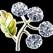 Vintage Monet Signed Brooch Purple Rhinestone Flowers Green Enamel Leaf