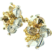 Vintage Vendome Silver and Gold Colored Screw Clip-on Earrings