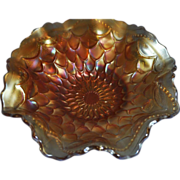 Dugan & Diamond Marigold Carnival Glass 7 inch Ruffled Bowl - Fish Scale and Beads pattern