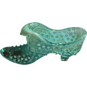 Fenton Aqua Opalescent Hobnail Cat Head Shoe