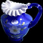 Fenton 6.5 inch tall Cobalt Blue Pitcher Hand Painted Floral Design George Fenton Signature