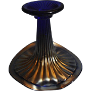 SOLD Vintage Northwood Blue Carnival Glass Jack in a Pulpit Vase with a Thin and Wide Rib patt