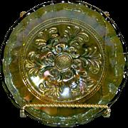 SALE (1900's) Millersburg Mayan Radium Finish Green Carnival Glass 7 1/2 inch Bowl