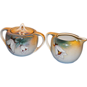 R. S. Germany Calla Lily hand painted design (19th Century) Sugar with Lid and Creamer