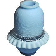 REDUCED Fenton Powder Blue Satin Finish Persian Medallion Fairy Lamp 3 Pieces ( Reduced)