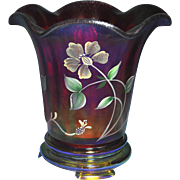 Fenton 2009 Founder's Day Ruby Stretch Flip Vase Gold Glass Base HP Floral 100th ...