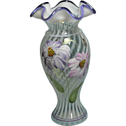 Fenton 2003 Heirloom Optic Opalescent Swirl Purple Crest Hand Painted Flowers