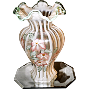 Fenton White Opalescent Ribbed Optic Meadow Beauty Hexagonal Vase with Willow Green Crest