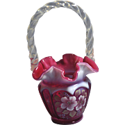 REDUCED Fenton  1994 QVC #CV07048 Cranberry Opalescent 8 1/2 inch Open Heart Arches Basket ...