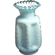 REDUCED Fenton Opaque Blue Overlay Bubble Optic Pinched Vase 8 inches tall with single crimp .