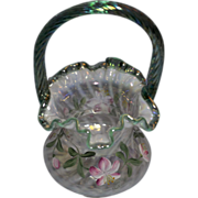 Fenton 6/95 QVC Fr. Opalescent Spiral Optic Basket with Cape Cod Green Handle and ...