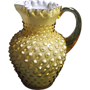 REDUCED Fenton 6 inch tall 1964 Honey Amber Hobnail 12 oz. Syrup Pitcher Crimped Top ...